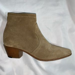 auth SAINT LAURENT size36.5 tan suede Ankle Bootie